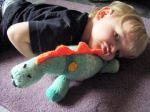Yarning around! – knitted toy dinosaur